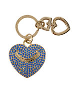 Bright Lapis Pave Heart Key Fob in Gift Box