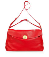 Flamenco Red Grainy Leather Satchel