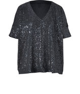 Charcoal Sequined Lightweight Cotton Jersey Easy D