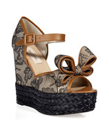 Sand/Black Lace Wedge Sandals