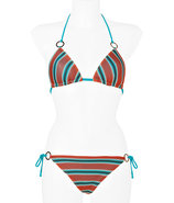 Aquamarine/Sunset Stripe Knit String Bikini