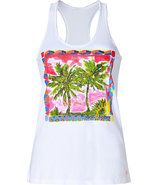 White Palms Postcard Printed Tank Top