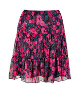 Hot Pink Multicolored Printed Skirt