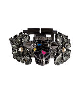 Hematite-Plated Panther Head Bracelet with Crystal
