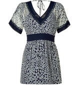 Navy/White Floral Printed Silk Dress