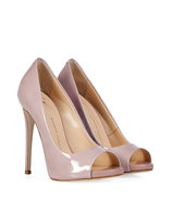 Blush Patent Leather Open Toe Pumps
