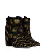 Black Suede Ankle Boots with Allover Gold-Toned St