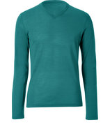 Jungle Green Wool V-Neck Pullover