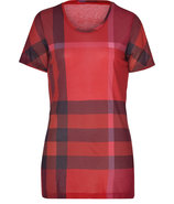 Orange-Red Check Short Sleeve T-Shirt