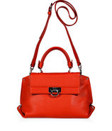Lava Orange Leather Sofia Crossbody Bag