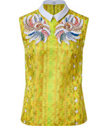 Yellow-Multi Sequin Embelished Silk-Blend Top