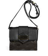 Black Dot Embossed Leather Crossbody Bag
