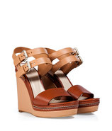 Nude/Chestnut Leather Wedge Sandals