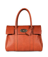 Cinnamon Silky Snake Print Leather Bayswater Bag