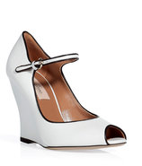 White peep-toe wedge pumps