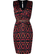 Terracota Ikat Print Silk Jersey Gloria Dress