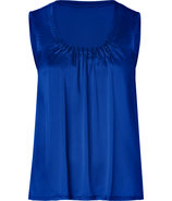 Magic Blue Silk-Satin Martha Sleeveless Top
