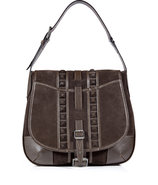 Mahogany Suede Denton Shoulder Bag