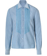 Light Blue Cotton-Linen Beaded Tuxedo Shirt