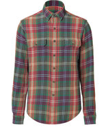 Green and Burnt Red Shirt with 17s Plaid