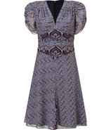 Black and Amethyst Art Deco Printed Dress
