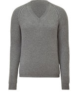 Grey V-Neck Ribbed Sweater