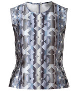 Damask Grey Sleeveless Silk Top