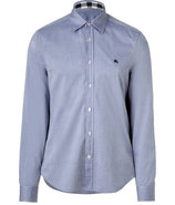 Navy Cotton Long Sleeve Henry Shirt