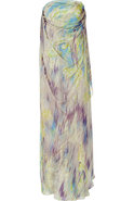 Mauve and Peridot Printed Silk Gown