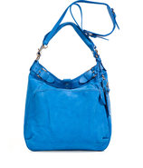 Neptune Blue Leather Hobo with Shoulder Strap