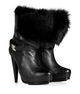 Black Leather Fur Lined Platform Ankle Boots