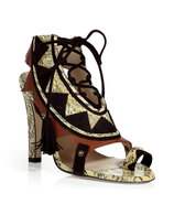 Multicolor Python and Suede Corset Sandals
