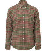 Burgund/Green Oxford Slim Fit Shirt