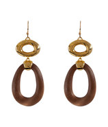 Warm Sepia/Gold-Toned Modular Link Earrings
