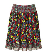 Multicolor Pleated Silk Skirt