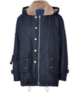 Midnight Blue Shearling Lined Hooded Wool Parka