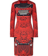 Red and Black Typewriter Print Silk Dress