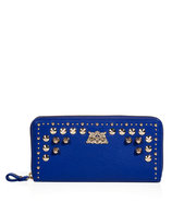 Bright Lapis Tough Girl Leather Zip Wallet