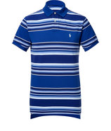 Tonal Royal/White Striped Cotton Polo Shirt
