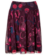 Merlot Multicolor Pleated Silk Skirt