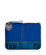 Bright Lapis Embossed Snake and Stud Leather Med P