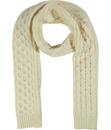 Ivory Small Cable Wool Scarf