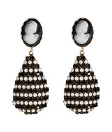 Black/White Cameo-Crystal Drop Earrings