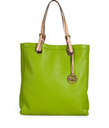 Lime Green Textured Leather Jet Set Travel Tote
