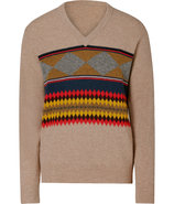 Trench Tan-Multi Geometric Wool Pullover