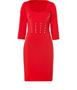 Bright Red Pencil Dress with Medusa Buttons