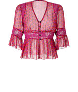 Magenta-Multi Printed Sheer Silk Top with Lace Pan