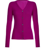 Magenta V-Neck Cashmere Cardigan
