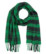 Green and Black Plaid Cotton Scarf