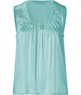Water Mint Silk-Satin Martha Sleeveless Top